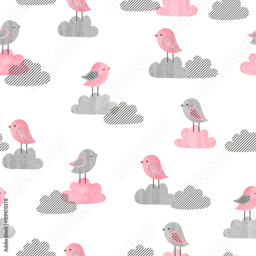 Cotton fabric Seamless pattern with cute birds and clouds. Baby print. Vector illustration