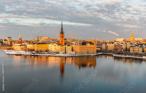 Foto op Canvas Stockholm Aerial view over Riddarholmen island and old town in Stockholm.