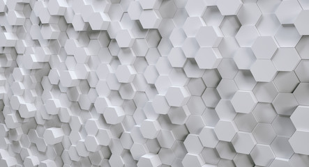 futuristic white hexagonal background, 3D Photorealistic