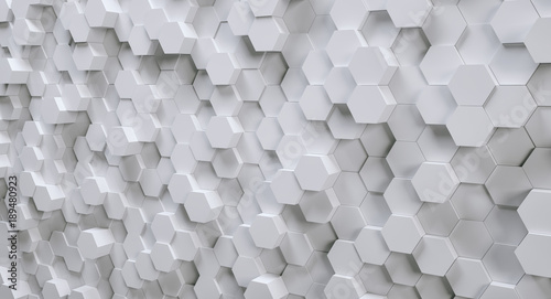 futuristic white hexagonal background, 3D Photorealistic