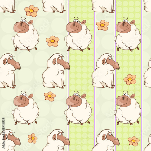 Fotobehang Babykamer Background with Cute Sheeps. Seamless Pattern