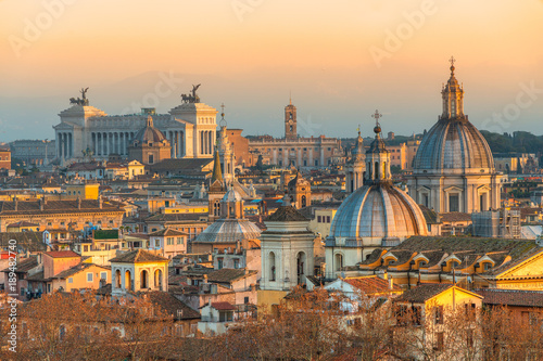 Foto op Canvas Rome Rome at sunset time with St Peter Cathedral