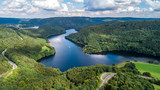 Bird's eye view of lake and forest taken by drone - 189483143