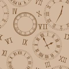 Time background. Clocks on beige background