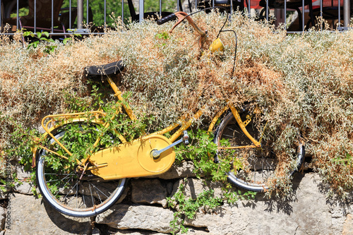 Fotobehang Fiets Old yellow rusty bicycle in italy