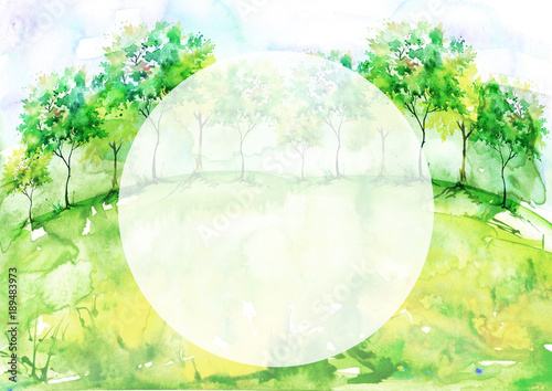 Staande foto Zwavel geel Watercolor background, postcard, card. Blossoming meadow, field, countryside landscape. Green Tree. Summer, Spring landscape. Silhouettes of forest, trees, wild grass, flower, plant.