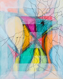 An Abstract Painting, Overlaid with Spidery Lines. - 189484518
