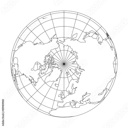 Outline Earth Globe With Map Of World Focused On Europe Vector