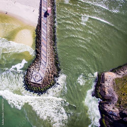 Fotobehang Rio de Janeiro Drone photo of Barra da Tijuca beach, Rio de Janeiro, Brazil.