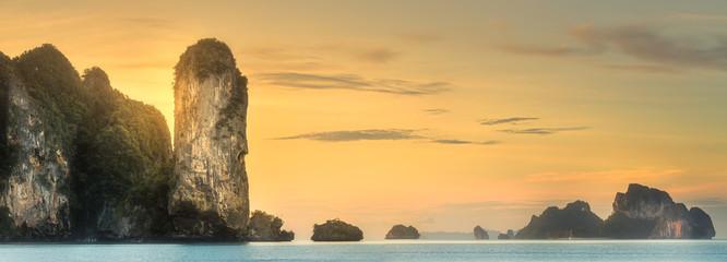 Tropical coast, jungle and cliff of Thailand beach