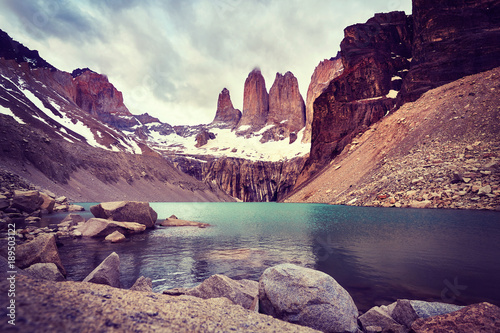 Torres del Paine National Park, color toned picture, Patagonia, Chile.