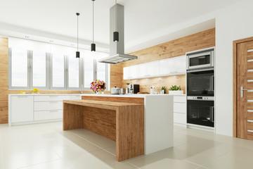 Helle Wohnküche mit freistehender Arbeitsplatte