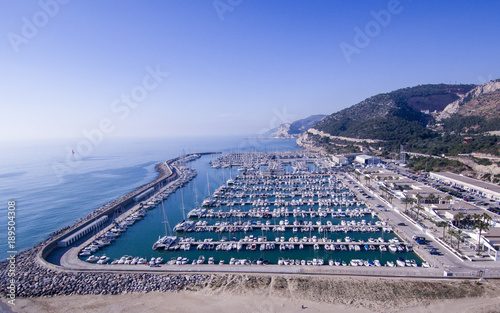 Foto op Canvas Barcelona Drone view of Port Ginesta. Barcelona