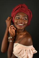 African Woman with Red Turban