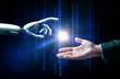 robot and human hand flash light and binary code