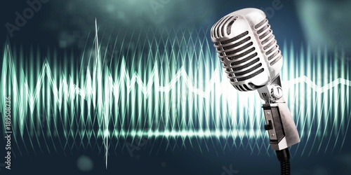 abstrakcja,-mikrofon,-fale-dzwiekowe,-plakat