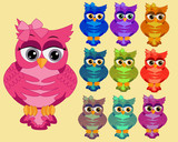 A large set of ten multi-colored bright cartoonish, cute owls with big eyes and bows behind the ear