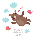 Cute bear and birds. valentine's card
