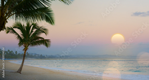 Fotobehang Strand Art Beautiful sunset over the tropical beach