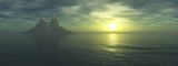 panorama of the sea sunset, the sun over the sea with the island, sunrise in the ocean,