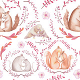Seamless Pattern of Watercolor Squirrels, Foxes, Mouse and Owl in Love - 189518921