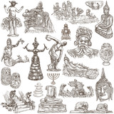 native and old art - hand drawn collection on white, isolated - 189522348