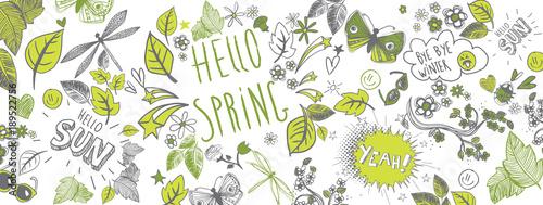 Fotobehang Graffiti Spring doodles background