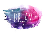 Believe Word with Stars on Hand Drawn Watercolor Brush Paint Background. Vector Illustration - 189523932