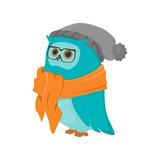 Cartoon Owl  Glasses Scarf And Hat  Pompom Wall Sticker