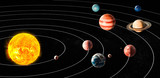 Fototapety Sun and planets of the solar system, 3D rendering