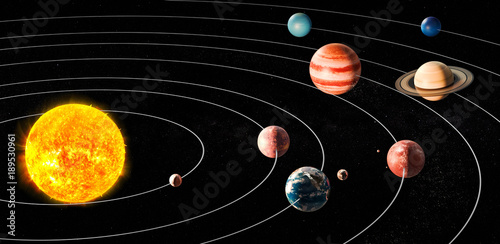 Sun and planets of the solar system, 3D rendering - 189530961