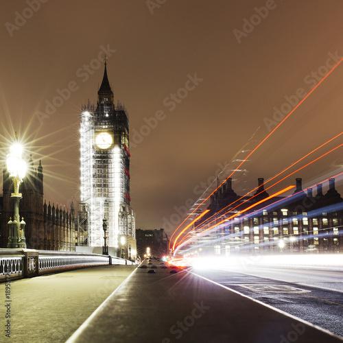 Staande foto London Big Ben in major repair work, renovation - night view