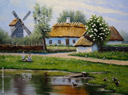 village-rural-oil-paintings-landscape-fine-art-spring