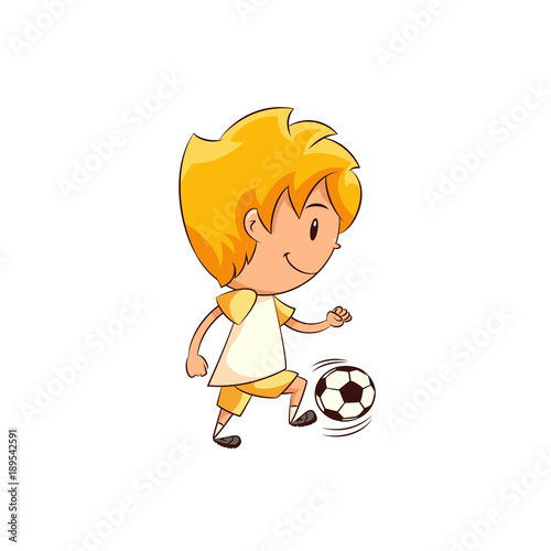Kid playing football soccer