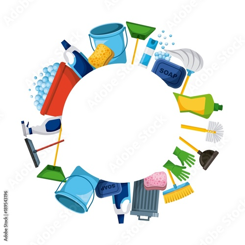 spring cleaning supplies round frame tools of housecleaning background vector illustration