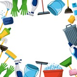 spring cleaning supplies border tools of housecleaning background vector illustration - 189543398