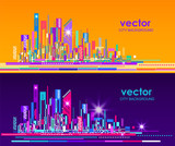 Night and day city skyline, vector illustration - 189548739