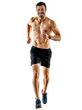 one caucasian man runner jogger running jogging isolated on white background with shadows - 189552503
