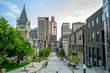 A view down to city of Montreal before walking up on it.