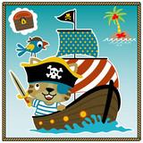 adorable pirate cartoon on sailboat - 189558545