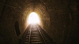 Bright holy sun light in the end of dark tunnel - 189562963