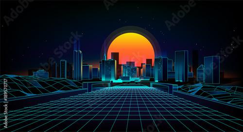 Retro background  landscape 1980s style.  Retro 80s Sci-Fi background city Landscape.Futuristic background retro wave. - 189570717