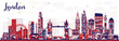 Abstract London England City Skyline with Color Buildings. - 189571389