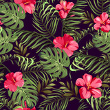 Seamless pattern with exotic flowers and leaves. Tropical Plants  - 189575731