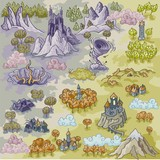 Fototapety Fantasy Advernture map elements with colorful doodle hand draw in vector illustration - map3