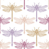 Seamless pattern with hand drawn dargonfly. Vector insects sketch collection. Vinatge spring background. Pastel colored. - 189577161