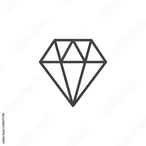 Diament linii ikona, zarys wektor znak, piktogram styl liniowy na białym tle. Genialny klejnot symbol, logo ilustracja. Skok do edycji