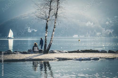 Plexiglas Pier Vue sur le lac d'Annecy