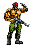 muscular soldier with gun salutes, illustration, art, design, logo, color image - 189581703