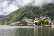 Panoramic view of Hallstatt and the lake Hallstatter See, part of Dachstein-Salzkammergut Cultural Landscape, a World Heritage Site in Austria